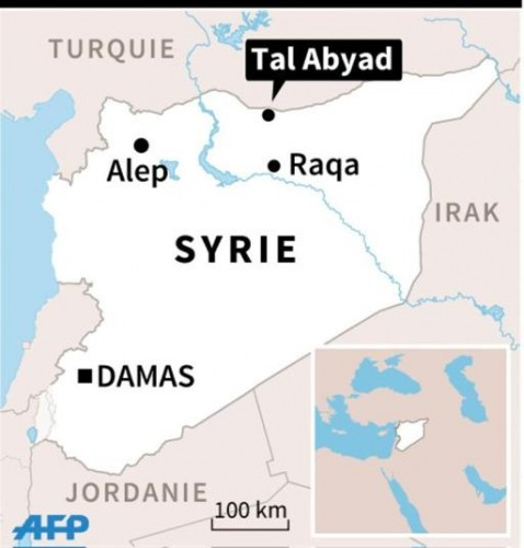 Localisation de la ville de Tal Abyad, à la frontière turque, où des milliers de Syriens fuient les combats