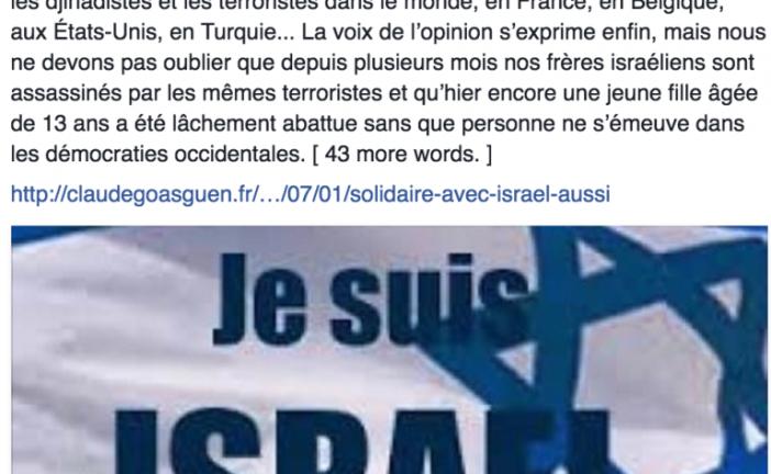 Claude Goasguen: « à nos frères israéliens assassinés… »