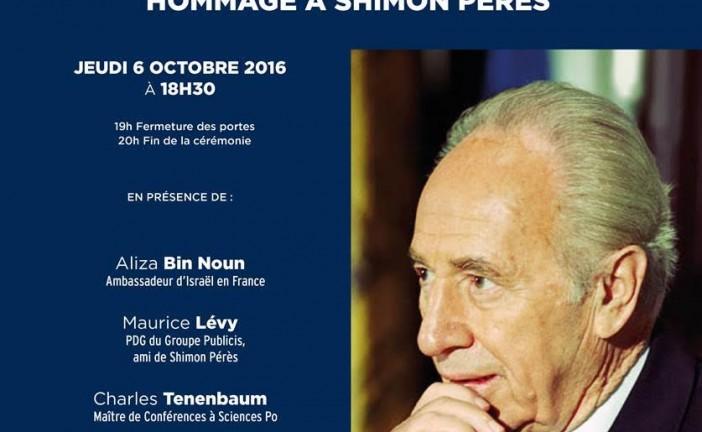 Le Keren Hayessod France et l'Agence Juive  organisent, ce jeudi 6 octobre une cérémonie d'hommage à Shimon Pérès