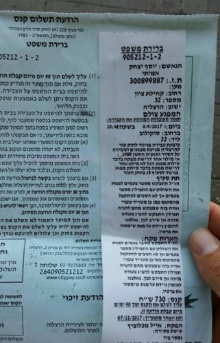 Encor un travers de la police ou bien des agents de la ville en Israel