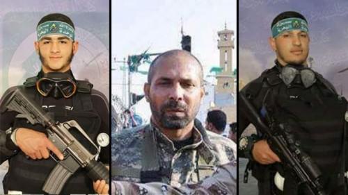 Marwan al-Ara (L), Arafat Abu Marshould (C) and Hamas field commander