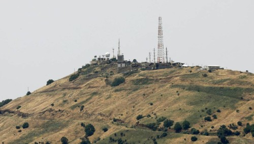 A view shows antennas on the Israeli-occupied Golan Heights as seen from Quneitra, Syria May 10, 2018. REUTERS/Alaa al-Faqir