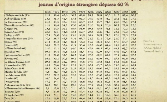Ile de France : Villes de plus 20 000 habitants où il y a plus de 60% de jeunes d'origine étrangère