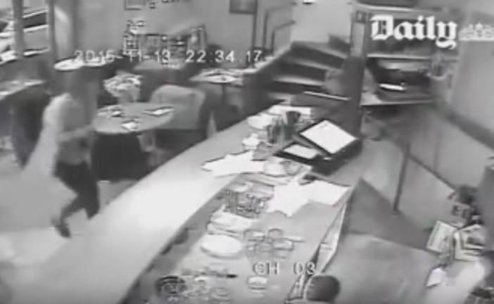 Video, de  l'attaque d'un restaurant par les terroristes le soir du 13 Novembre 2015 à Paris