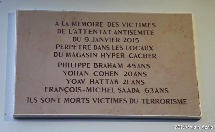 Commémoration du 1 er anniversaire des attentats de Janvier 2015 Echo Photo de notre Alain AZRIA