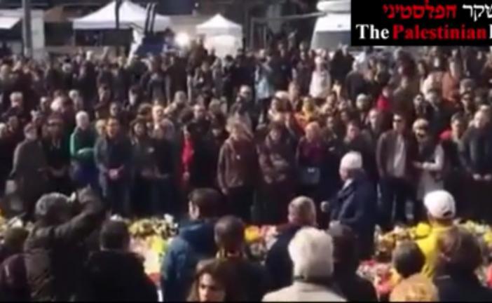 Vidéo: Un pro-palestinien criant «Palestine» hué par la foule lors d'un rassemblement pour les victimes des attentats de Bruxelles.