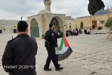 Vidéo: un arabe brandit le drapeau palestinien au nez de la police israélienne sur le Mont du Temple.