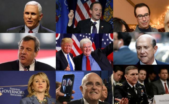 La future équipe présidentielle de Trump : Gingrich, Giuliani, Pence, Priebus, Eisenberg, tous de fervents soutiens d'Israël