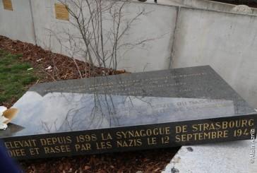 Strasbourg : Profanation de la stele en souvenir de la destruction de la Grande Synagogue de Strasbourg par les Nazis. Alain Azria